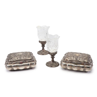 Godinger Silver Plate Candleholders with Crystal Hurricane Tops & Plated Boxes