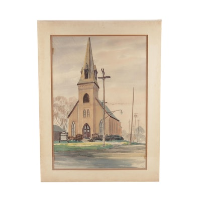 Wedow Watercolor Painting of a Church