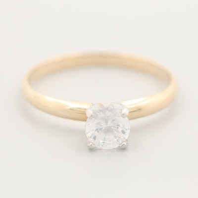 14K Yellow Gold Cubic Zirconia Solitaire Ring