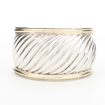 David Yurman Sterling Silver Ribbed Cable Cuff Bracelet