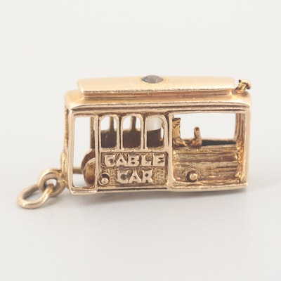 Vintage 14K Yellow Gold Articulating Stanhope Cable Car Charm Pendant