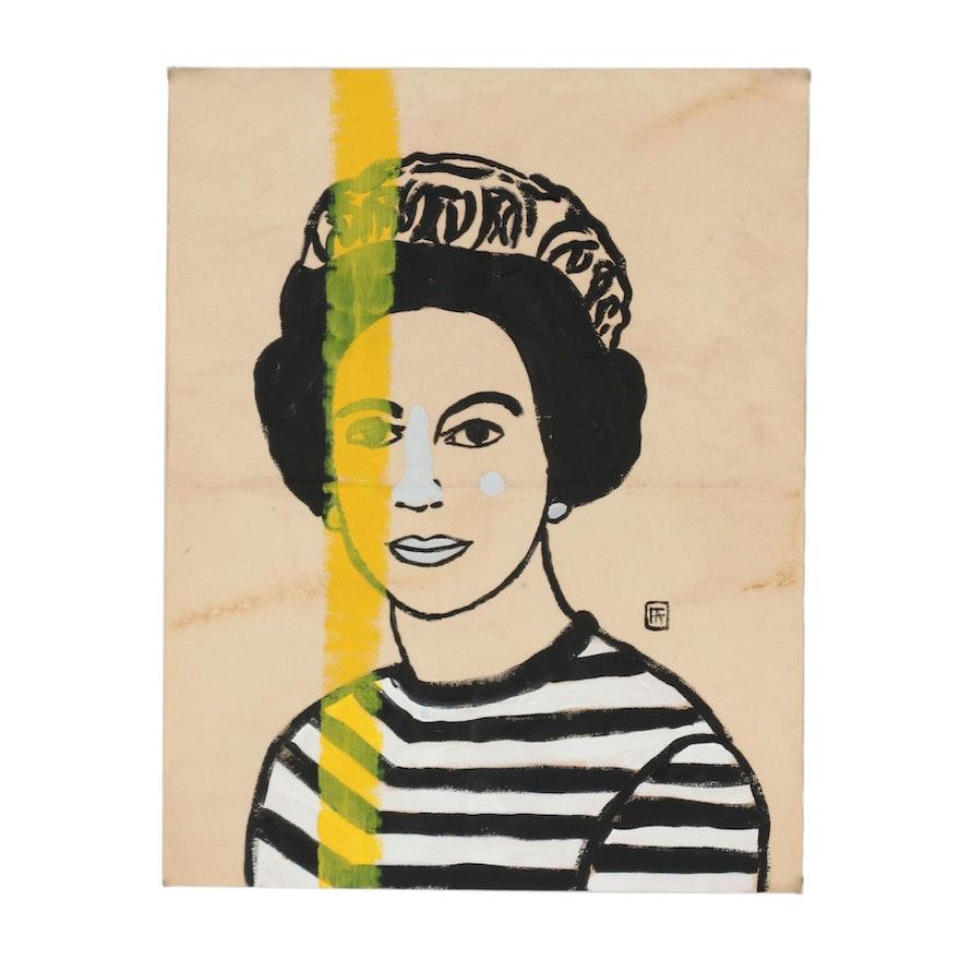 Francois Aguiard Acrylic Painting Queen Elizabeth Ii