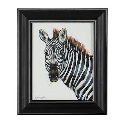 "Ganna Melnychenko Watercolor Painting ""Zebra Portrait"""