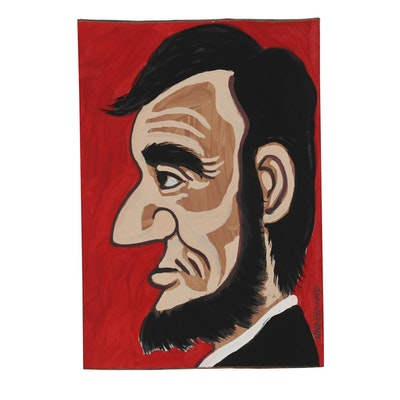"J. Underwood Folk Art Acrylic Painting ""Abe Lincoln"""