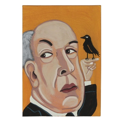 "J. Underwood Folk Art Acrylic Painting ""Hitchcock's The Birds"""