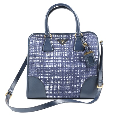 Prada Navy Tela Tweed and Saffiano Leather Tote Shoulder Bag