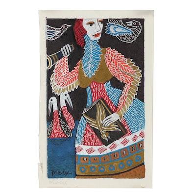 "Evelyn Marx Drawing ""Bird-Girl"""