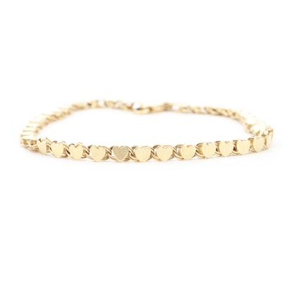 14K Yellow Gold Heart Bracelet