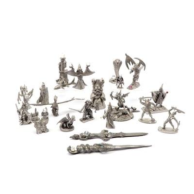 Pewter Fantasy Creature Figurines Including Tom Meier