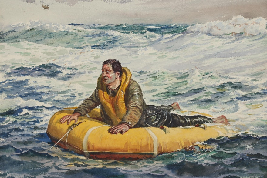 Edmond J. Fitzgerald Figural Watercolor Painting