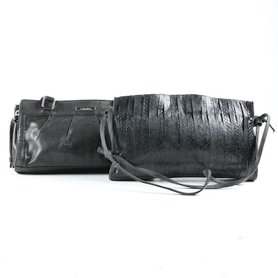 Calvin Klein Black Leather and Unlabeled Black Snakeskin Shoulder Bags
