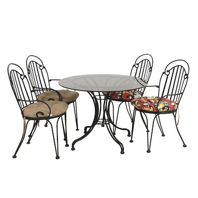Wrought Iron Patio Set with Glass Top Table