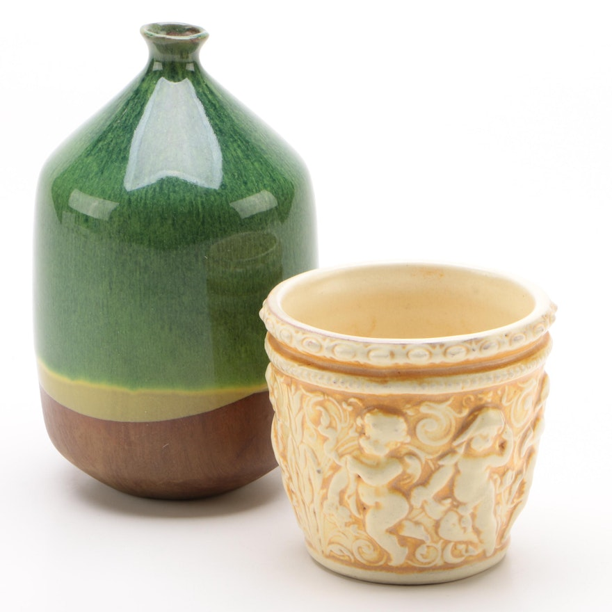 Earthenware Relief Cast Cachepot and Bottle Vase, 20th Century