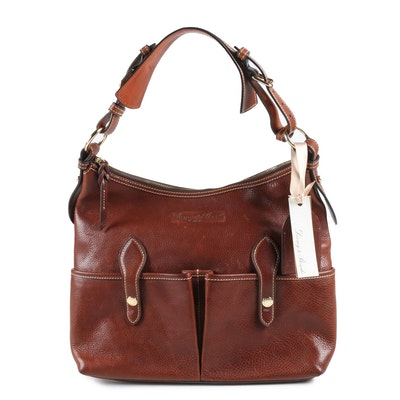Dooney & Bourke Medium Lucy Hobo Bag in Chestnut Florentine Vacchetta Leather