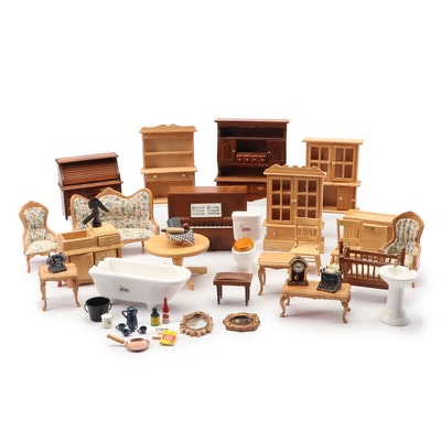 "Miniature Furniture Including Music Box Piano with ""Für Elise"" Melody"