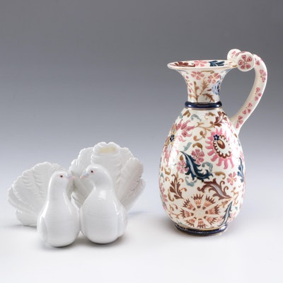 "Lladró ""Couple of Doves"" Porcelain Figurine and Fisher Rudapesi Ceramic Vase"