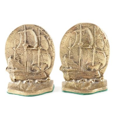 Cast Metal Spanish Galleon Ship Bookends