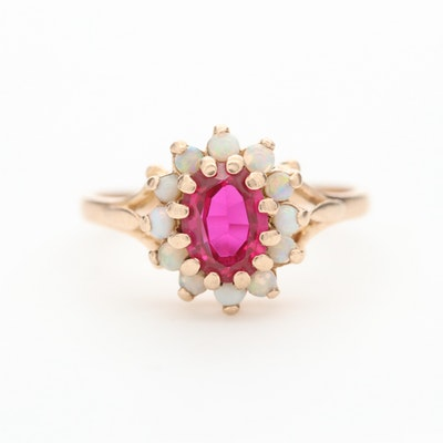 Vintage 10K Yellow Gold Synthetic Ruby and Opal Ring