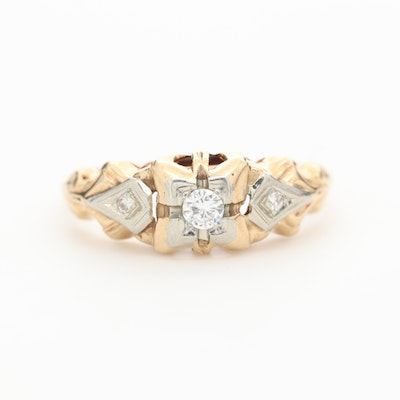 Circa 1930 14K Yellow Gold Diamond Ring with 18K White Gold Accents