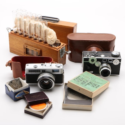 Minolta and Argus Cameras, Pyrex Test Tube Set, and More, Vintage