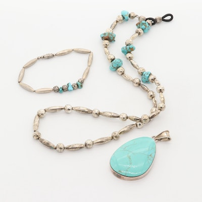 Sterling Silver Genuine and Imitation Turquoise Jewelry Including Taxco