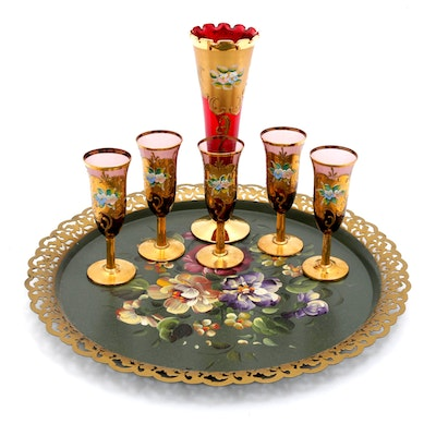 Hand-Painted Floral Cordial Set