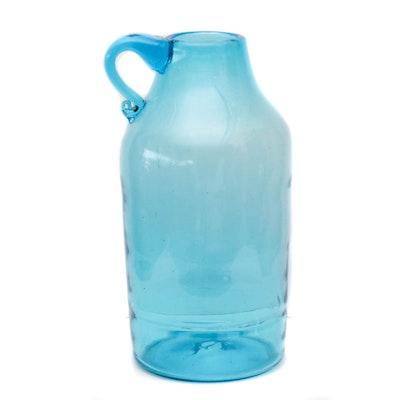 Blenko Blue Art Glass Floor Vase, Mid-Century
