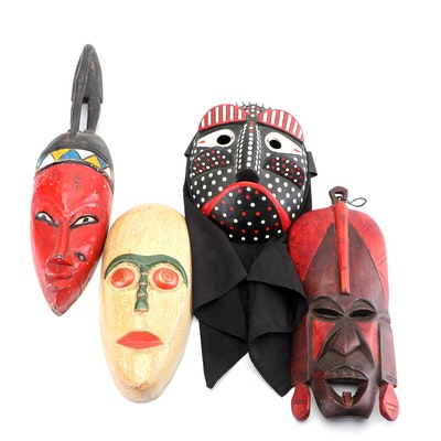 African Style Carved Wooden Masks