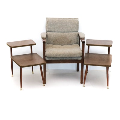Armchair and Pair of Tiered Side Tables, Mid-Century