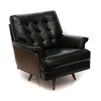 Tufted Faux Leather Swiveling Armchair, Mid-Century