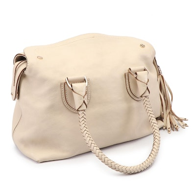 Cole Haan Grained Leather Hobo Bag with Tassel and Braided Handles