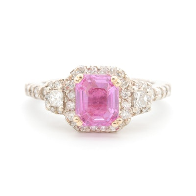 14K White and Yellow Gold Pink Sapphire and Diamond Ring