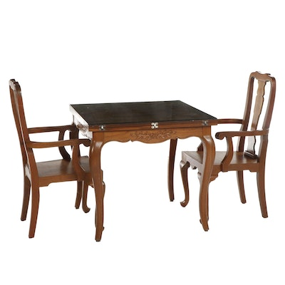 French Provincial Style Walnut Flip-Top Table with Pair of Armchairs