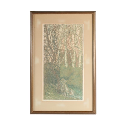 "Janet Turner Woodblock ""Early Spring in Bidwell Park"""