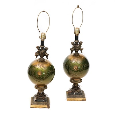 Hollywood Regency Glass Table Lamps, Set of Two