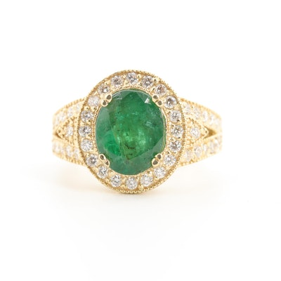 18K Yellow Gold Emerald and 1.01 CTW Diamond Ring