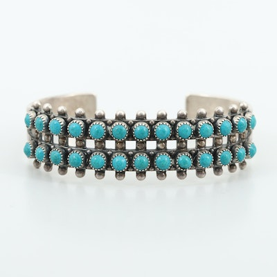 Southwestern Sterling Silver Imitation Turquoise Cuff Bracelet