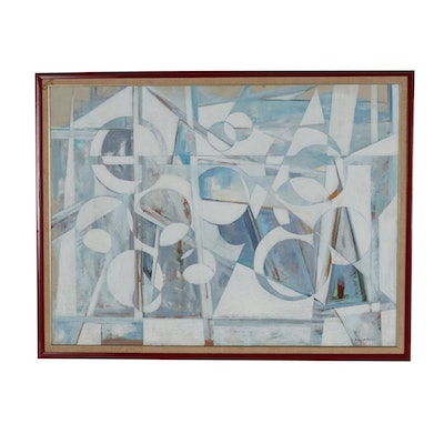 "H. Oppenheim Abstract Cubist Style Oil Painting ""Sky Blue"""