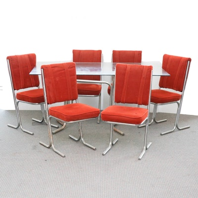 Modernist Glass Top Chrome Dining Table with Velvet Chairs, Mid-Century