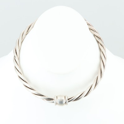 Mexican Sterling Silver Twisted Torque Necklace