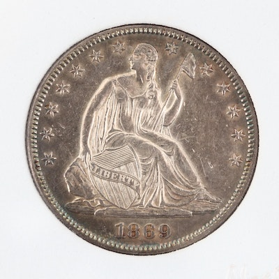Encapsulated Low Mintage 1869 Liberty Seated Silver Half Dollar, with Motto