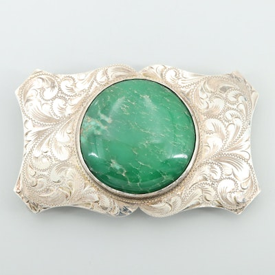 Sterling Silver Green Jasper Belt Buckle with Engraved Scrolls