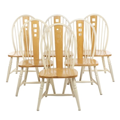 Windsor Style Wooden Dining Chairs, Set of Six