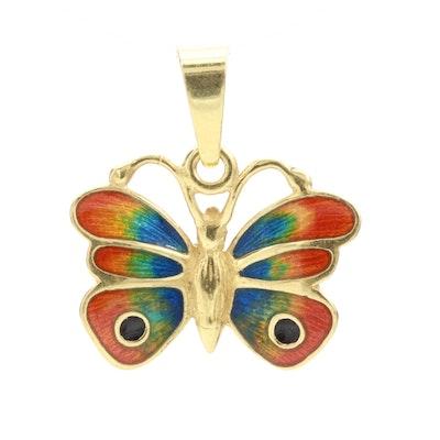 Milor 18K Yellow Gold Enamel Butterfly Pendant