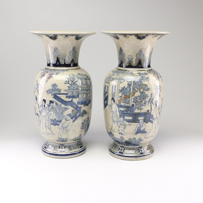 The Bombay Company Chinese Blue and White Earthenware Vases