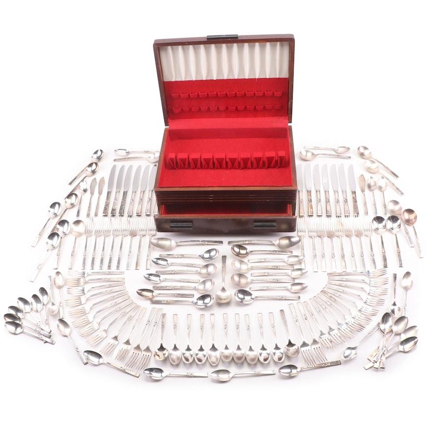 "Oneida ""Morning Star"" Silver Plate Flatware in Mahogany Box"
