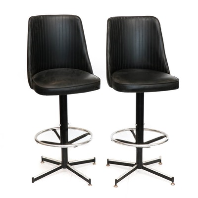 Mid Century Modern Faux Leather Barstools, Set of Two