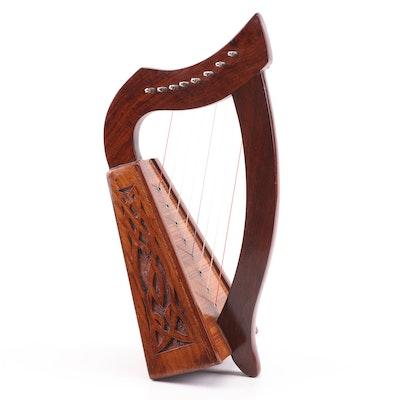Wooden Harp with Carved Celtic Design