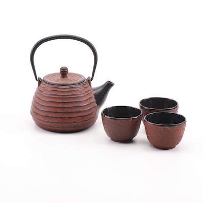 Japanese Clay Teapot and Teacups