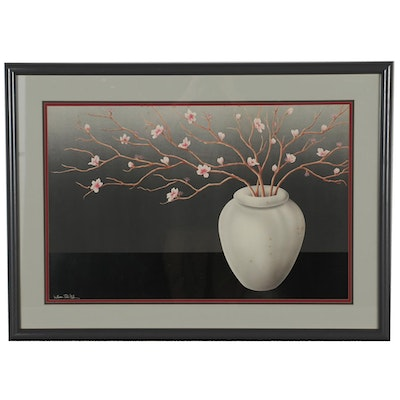 """Offset Lithograph after William Todd Haile """"Cherry Blossoms"""""""